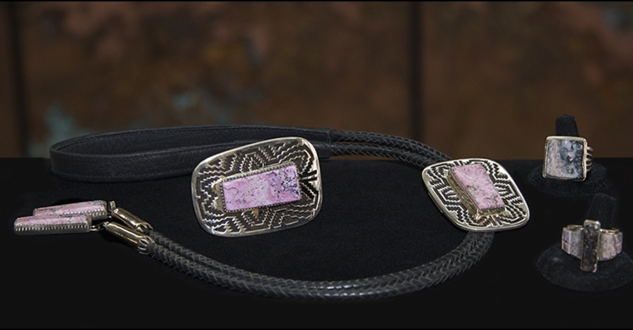 Astorite Bolo, Belt Buckle and Rings - Artist, Tommy Jackson